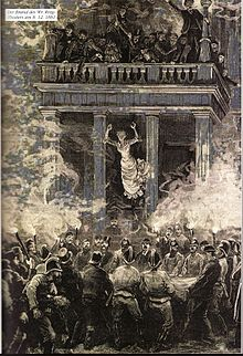 black and white drawing. Woman in a white dress jumping off the second floor into a fire-net. There are many people on the balcony and firefighters in black uniforms surround the net.