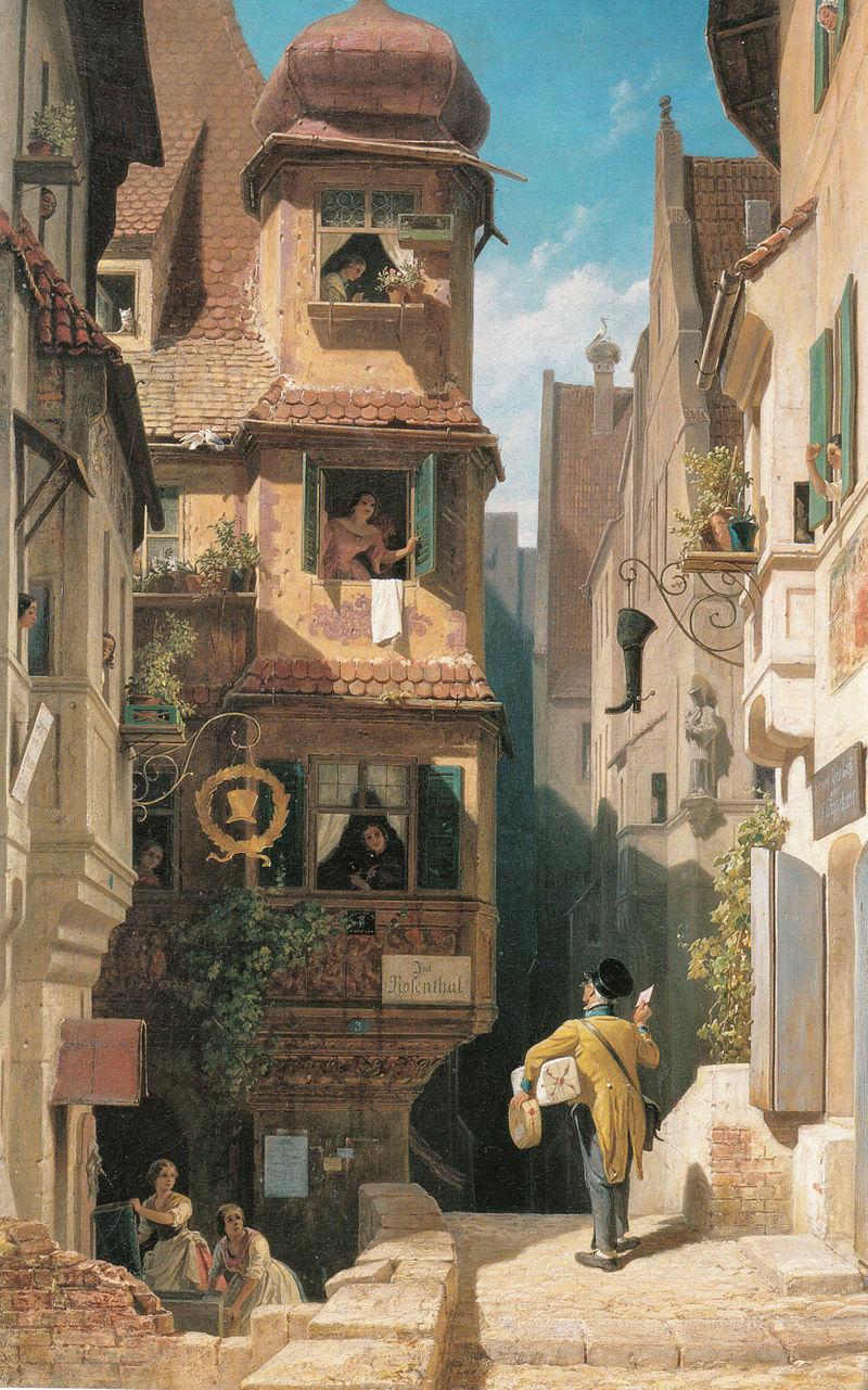 Carl Spitzweg - Der Briefbote im Rosenthal.jpg