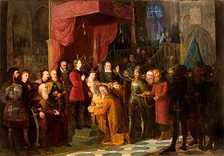 Tsars Shuyski brought by Żółkiewski to the Warsaw Sejm in front of Zygmunt III