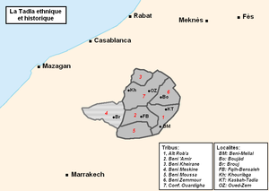 Tadla - A map of the historical Tadla region and its tribes.