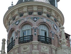 "Daniel Zuloaga -  Detail of Casa de Don Tomás de Allende (""Don Tomás de Allende's House"") at Plaza de Canalejas (square) in Madrid(Spain). Ceramic decoration was made by Daniel Zuloaga"