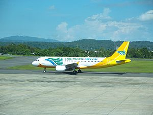 English: Cebu Pacific Airbus A319 at the airpo...