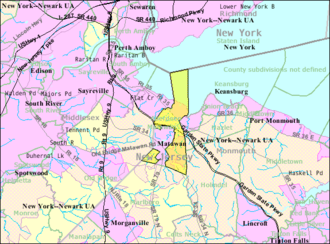 Aberdeen Township, New Jersey - Image: Census Bureau map of Aberdeen Township, New Jersey
