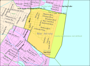 Sea Girt, New Jersey - Image: Census Bureau map of Sea Girt, New Jersey