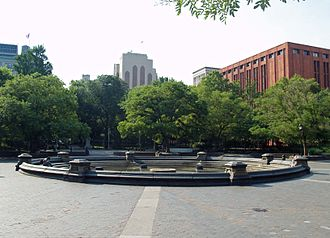 Washington Square Park - The central fountain, with the Philip Johnson-designed Bobst Library on the right