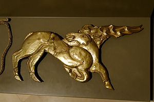 Eurasian nomads - Scythian shield ornament of deer, in gold