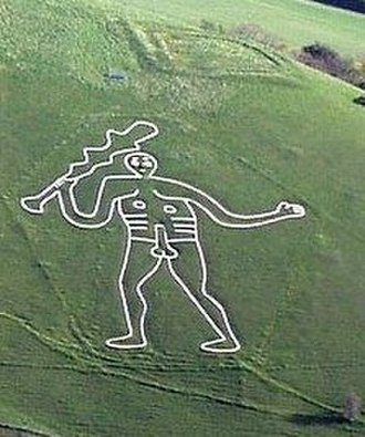 Hill figure - The Cerne Abbas Giant chalk figure, near the village of Cerne Abbas in Dorset, England, is made by a turf-cut.