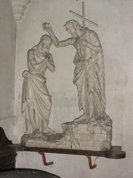 Chailles (Loir-et-Cher) église, statue Baptême du Christ