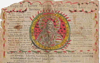 """Chain letter - Top portion of an 18th-century """"Letter from Heaven,"""" produced in England."""