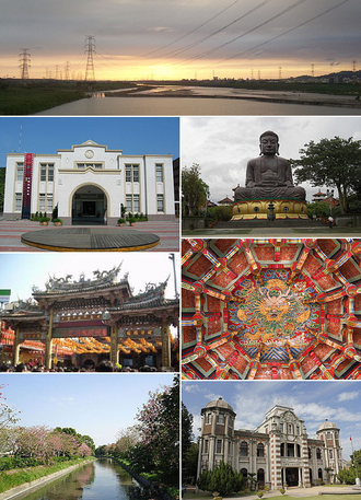 Changhua County - Top:View of Wu River from National Highway 74, between Changsha and Wuri, 2nd left:Changhua County Hall, 2nd right:Baguashan Great Buddha in Changhua City, 3rd left:Lukang Tinhau Temple, 3rd right:View of inside in roof at Longshan Temple, Lukang, Bottom left:View of entrance in Baguashan Buddha Park, Bottom right:Koo's House in Lukang Folk Museum