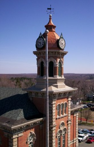 Chardon, Ohio - The Geauga County Courthouse on Chardon Square, as viewed from the Ferris wheel during the Maple Festival