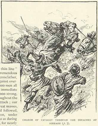 Battle of Sobraon - The British cavalry charges the breach (illustration from a British book)