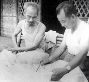 Chen Geng - Chen Geng and operational plan with the Vietnamese President Ho Chi Minh, 1950