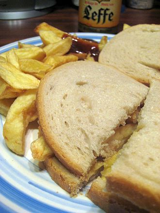 Chip butty - A classic chip butty made with chips, white bread, and butter