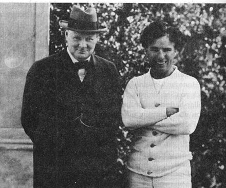 Churchill meeting with film star Charlie Chaplin in Los Angeles in 1929. ChurchillChaplin0001.jpg