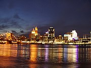 Cincinnati skyline at night, from the Kentucky shore.