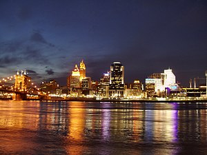 Nicknames of Cincinnati - Cincinnati skyline at night, from the Kentucky shore.