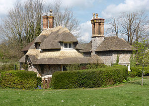 Blaise Hamlet - Circular Cottage (left), with Sweetbriar Cottage immediately beyond