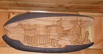 "Embothrium coccineum - Scene carved on a piece of ""Notro"" wood"
