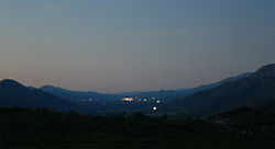 View of Citrusdal and surrounding mountains at night