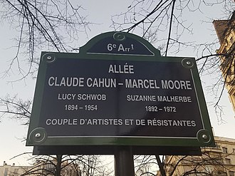 Claude Cahun - Street sign for 'allée Claude Cahun-Marcel Moore' in the 6th arrondissement of Paris