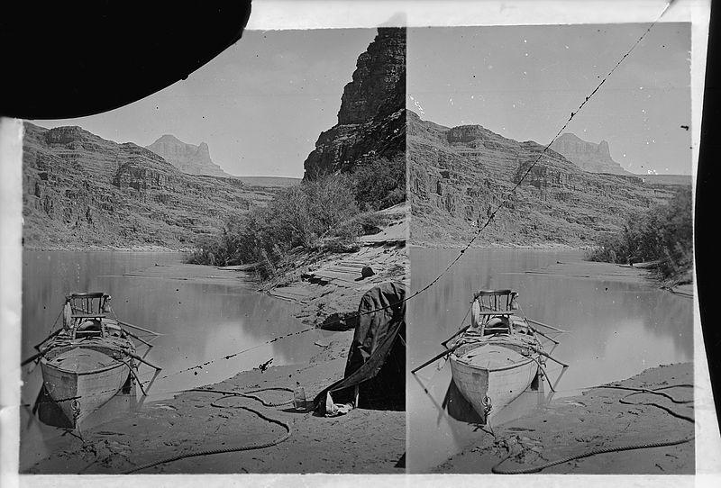 File:Colorado River. Grand Canyon, Major Powell's boat with chair facing the camera. Old no. 645. - NARA - 517892.jpg