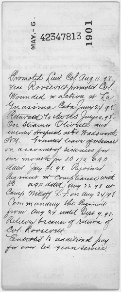 File:Compiled military service record of Alexander O. Brodie, documenting service in the 1st U. S. Volunteer Cavalry... - NARA - 300508.tif