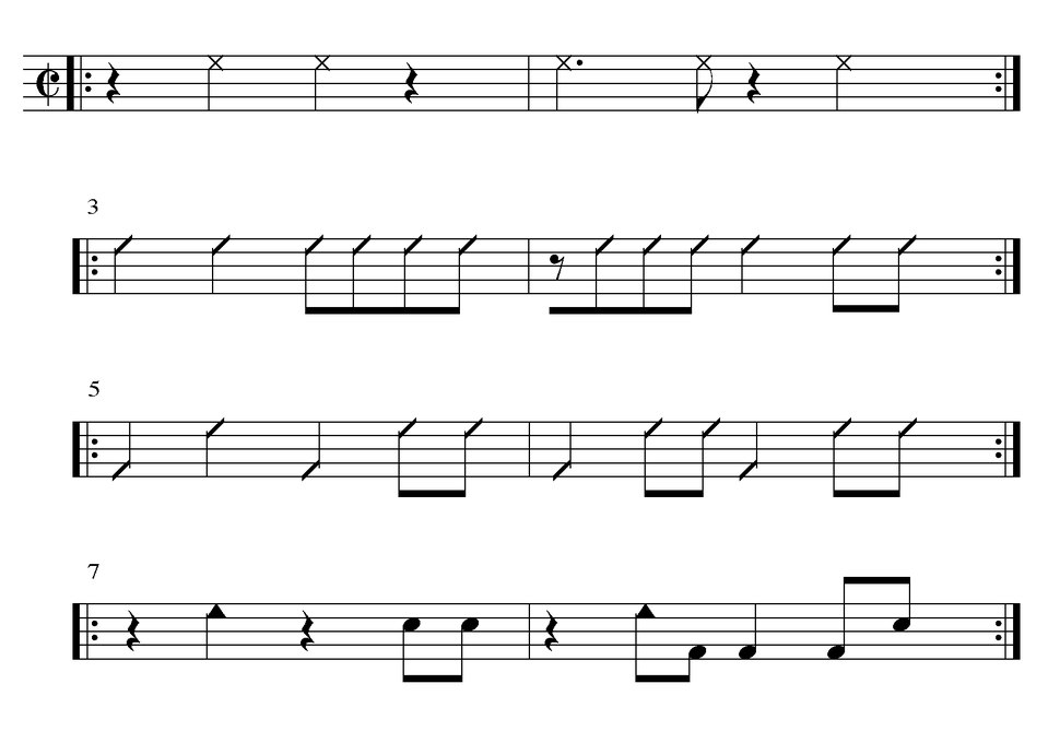 Congas and bells in correct 2-3 alignment