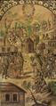 Conquista de México (Tabla 14), Ollas de carne de sacrificados para sus sacerdotes. Queman dos indios por traidores a Cortés, Miguel González & Juan González (1698).png