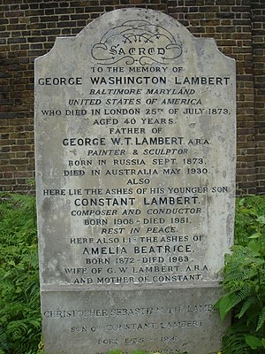 Constant Lambert - Funerary monument, Brompton Cemetery, London
