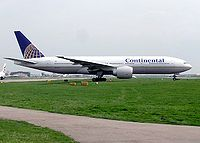 A Continental Airlines Boeing 777