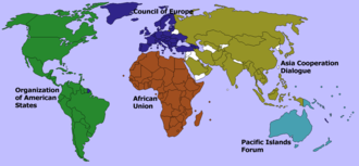 Regional organization - Organizations grouping almost all the countries in their respective continents. Note that Russia and Turkey are members of both the Council of Europe (CoE) and the Asia Cooperation Dialogue (ACD). See also: international organization.