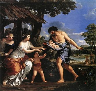 Faustulus - Romulus and Remus being given shelter by Faustulus, oil by Pietro da Cortona.