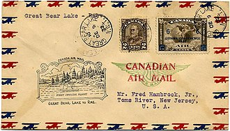 Airmail - A cover carried on a 1932 first flight in the north woods of Canada, with a cachet and franked with both a regular and an airmail stamp