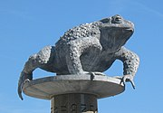This statue of a crapaud in St. Helier represents the traditional nickname for Jersey people