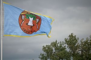 Crow Agency, Montana - Crow nation flag at Crow Agency