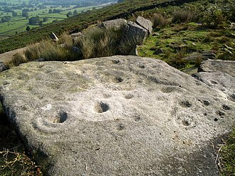 Addingham - A Cup and Ring marked rock on top of Addingham Moor