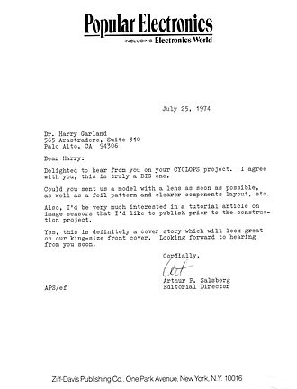 "Cromemco Cyclops - Correspondence from the editorial director of Popular Electronics magazine, dated July 25, 1974, regarding publishing a cover story on the ""CYCLOPS"" camera project"