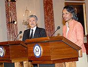 Massimo D'Alema, Italian Minister of Foreign Affairs, and U.S. Secretary of State Condoleezza Rice.
