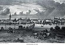 Pontonbrücke am Rhein bei Düsseldorf, Stich um 1850 (Quelle: Wikimedia)