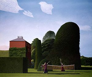 Brotherhood of Ruralists - The Badminton Game by David  Inshaw, typical of the work of the Brotherhood