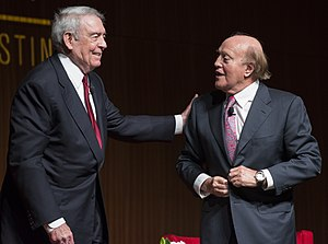 Peter Arnett - (L-R) Former CBS News anchor Dan Rather with Arnett at the LBJ Presidential Library in 2016