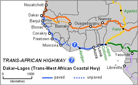 Dakar-Lagos Highway Map