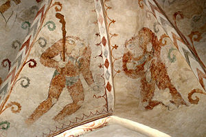 Blemmyes - Headless blemmyes representing Avarice and Gluttony in a Gothic fresco (1511) from the nave at Dalbyneder Church, Denmark