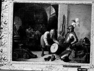 Interieur met soldaten en een jongen met een trommel