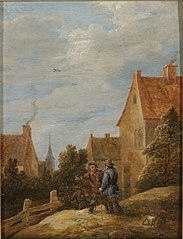 Peasants on a Road in a Village