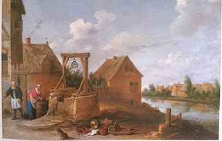 Village Scene with Woman at a Well