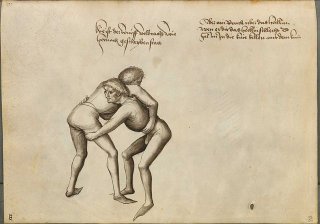 Grappling illustration from a German Fechtbuch by Hans Talhoffer (1443 AD) - German Ringen (Grappling)