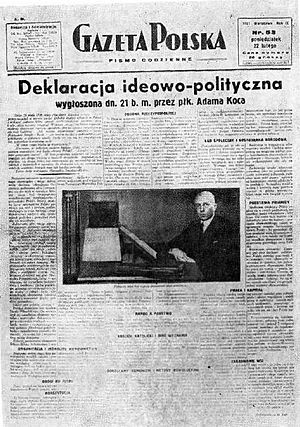 Camp of National Unity - Declaration of OZN political program in Gazeta Polska on 22 February 1937