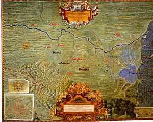 """Polesine - Polesine (located at the north-east in this map) and Emilia-Romagna in 1585. You can note that the main course of the Po was norther before the """"cutting of Porto Viro"""" of 1604."""